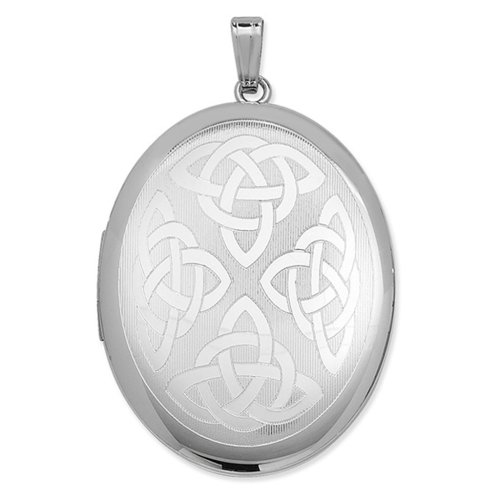 Childrens Sterling Silver Celtic Oval Locket On A Curb Necklace