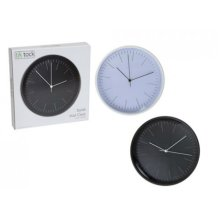 Black & White Round Face Classic Clock - Wall 12 Inches 30cm Diameter -  classic round face wall clock 12 inches 30 cm diameter black white
