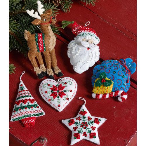"""Bucilla Felt Ornaments Felt Applique Kit 3.5""""X4.5"""" Set of 6-Nordic Santa"""