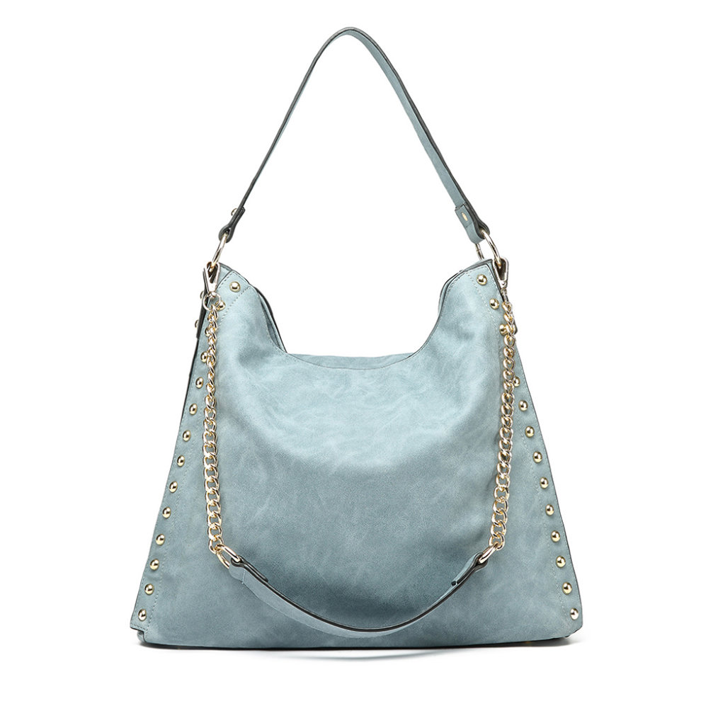 Miss Lulu Women s Studded Hobo Shoulder Tote Bag Handbag Blue on OnBuy 7c8f042bf4f13