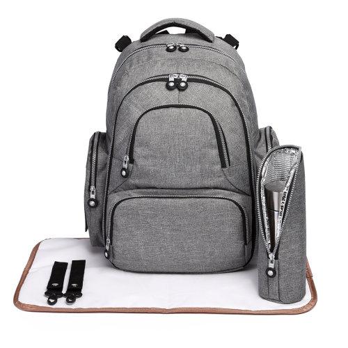 (Grey) 3pc KONO Nappy Change Backpack | Baby Change Backpack Set