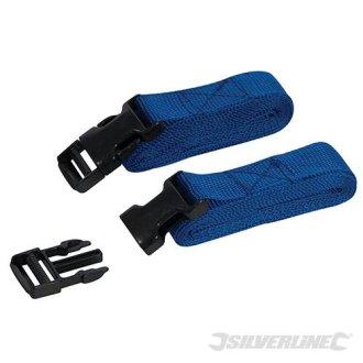 2m x 25mm 2pk Clip Buckle Straps - Silverline Set 443721 Luggage Roof 2pce -  clip buckle straps x 25mm silverline 2m set 443721 luggage roof 2pce