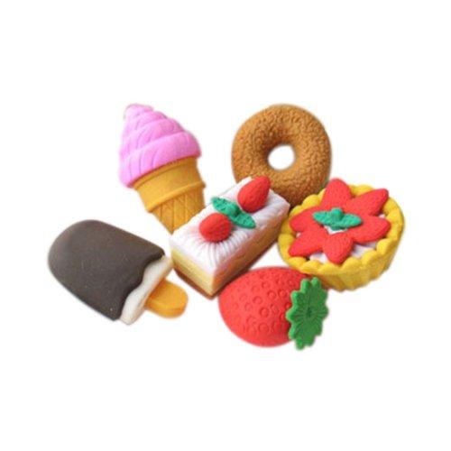 3 Sets Of Fashion Cute Cartoon Erasers Dessert Modeling