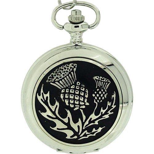 Boxx Silver Tone Thistle White Dial Pocket Watch BOXX297