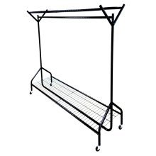 4ft  x 5ft Black Heavy Duty Hanging Clothes Rail with Shoe Rack