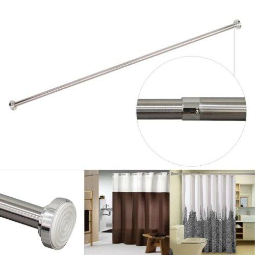 Telescopic Shower Curtain Rail Extendable 125-235cm Pole Rod Bath Chrome