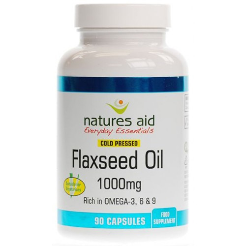 Natures Aid Flaxseed Oil - 1000mg Cold Pressed 90 Capsules
