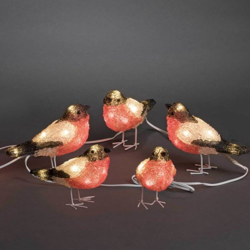 5 Pc Acrylic BULLFINCH / ROBINS LEDs light 3D Xmas decoration, indoor/outdoor