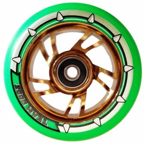 Single Team Dogz Neon Green Chrome Gold 100mm Scooter Wheel