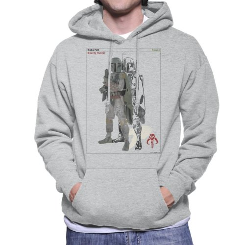(Small, Heather Grey) Star Wars Boba Fett Bounty Hunter Slave I Men's Hooded Sweatshirt