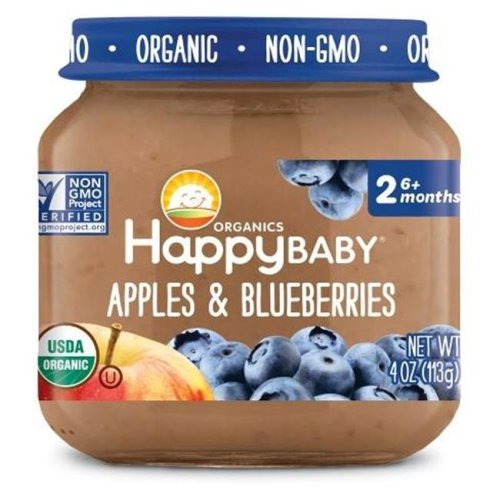 Happy Baby 318859 Stage 2 Apple Blueberry Clearly Crafted Baby Food in Jar, 4 oz - Pack of 12