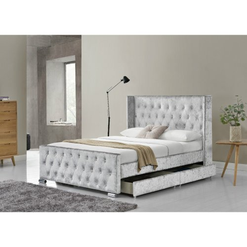 Chesterfield Crushed Velvet Silver Storage Bed