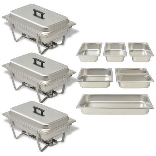 vidaXL Chafing Dish Set 3 pcs Stainless Steel Lid Food Water Pan Stand Burner