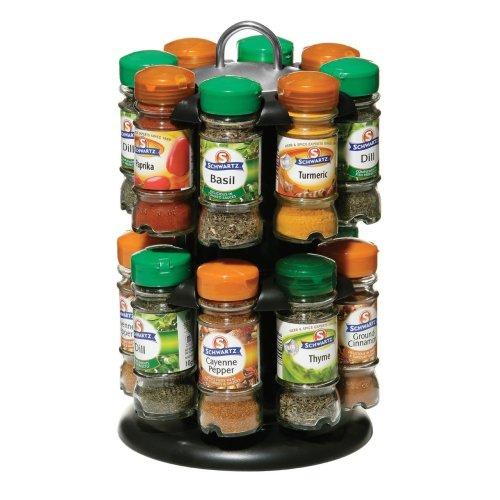 2 Tier Spice Rack with 16 Schwartz Spice Bottles