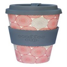 Ecoffee Cup Organic Bamboo Fibre Reusable Coffee Cup Swirl with Grey Silicone (order 36 for Trade Outer)