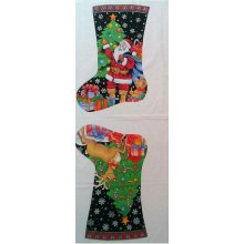 Santa and Rudolph Christmas Holiday Stocking 100% Cotton Fabric Panel