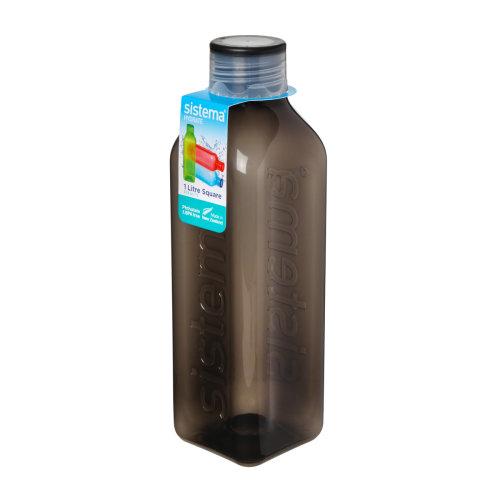Sistema Hydrate 1L Square Drink Bottle, Black
