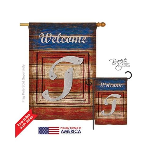 Breeze Decor 30124 Patriotic T Monogram 2-Sided Vertical Impression House Flag - 28 x 40 in.