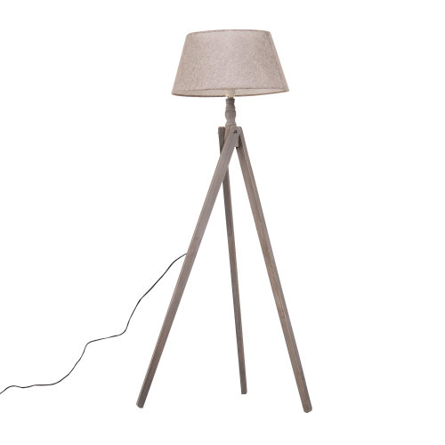 HOMCOM Free Standing Floor Lamp Bedside Light Tripod Holder Storage Shelf Linen Shade Cozy Beige