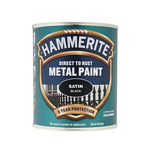 Hammerite SATBL750 Direct to Rust Satin Finish Metal Paint Black 750ml