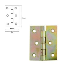1 Pcs Folding Closet Cabinet Door Butt Hinge Brass Plated 50x43mm