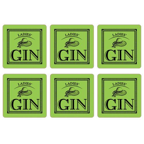 Ladies' Gin Set of 6 Coasters, Lime