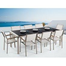 Garden set - Dining set 220cm - Stainless Steel - Granite top -  chairs - GROSSETO