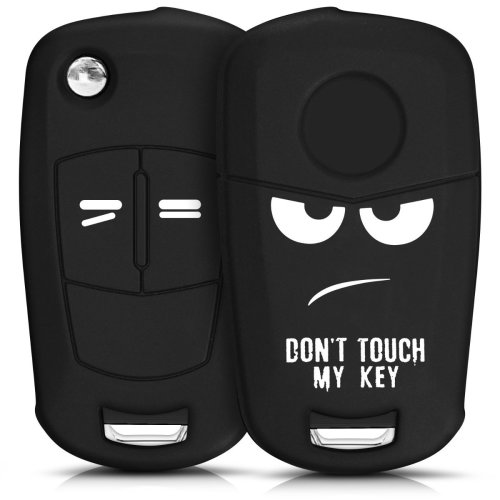 kwmobile Opel Vauxhall Car Key Cover - Silicone Protective Key Fob Cover for Opel Vauxhall 2 Button Car Flip Key - White Black