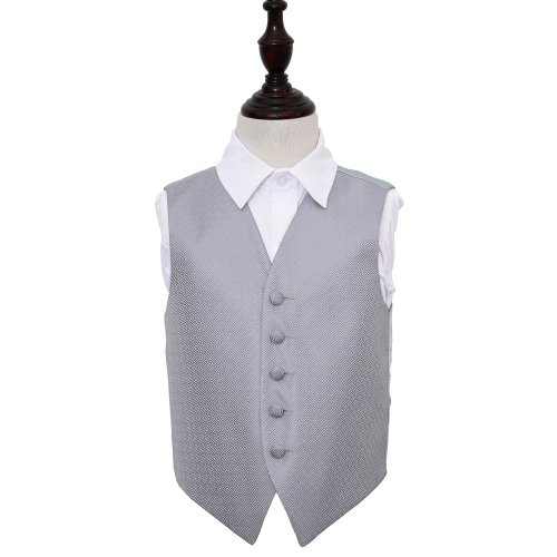 Silver Greek Key Wedding Waistcoat for Boys 22'