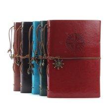 Vintage Leather Travel Journal Blank Pages Kraft Paper Sketchbook A5 Spiral Notebooks 6 Ring Binder