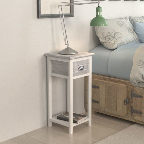 vidaXL Nightstand with 1 Drawer Grey and White Bedside Storage Cabinet Table