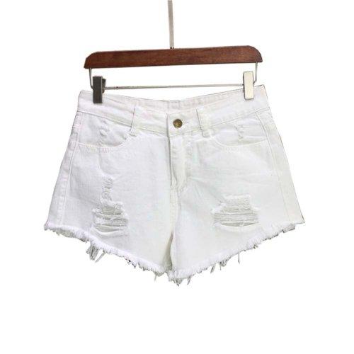 Simple Design High Waist Jeans Shorts Denim Shorts for Women, A