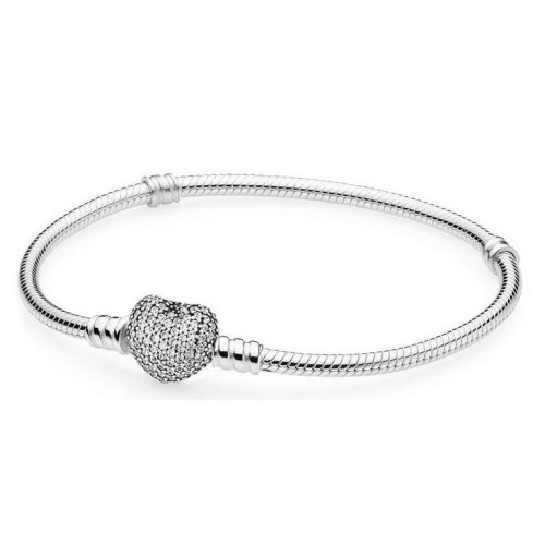 PANDORA Moments Silver Bracelet with Pave Heart Clasp - 590727CZ-19