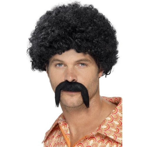 "Smiffy's 43664 ""70's Disco"" Dirt Bag Kit (one Size) -  disco fancy dress kit mens dirtbag 70s afro 1970s wig black moustache accessory costume new"