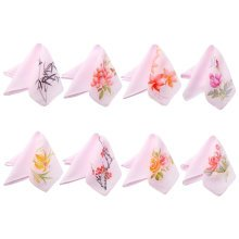 Pink Elegant And Retro Random Pattern Embroidery Handkerchief-Set Of One