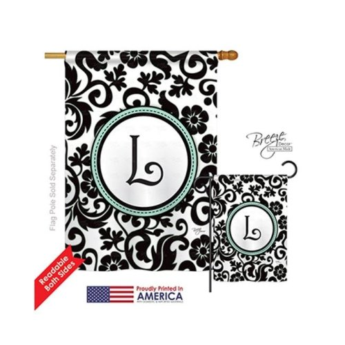 Breeze Decor 30064 Damask L Monogram 2-Sided Vertical Impression House Flag - 28 x 40 in.