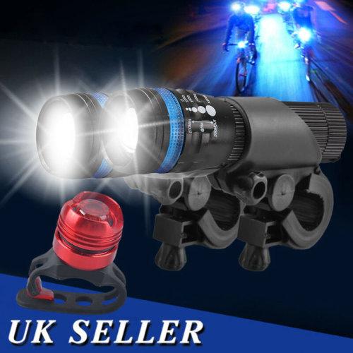 2x CREE Q5 LED Mountain Bike Zoomable Head Front Lights SET + Alu Rear Light UK
