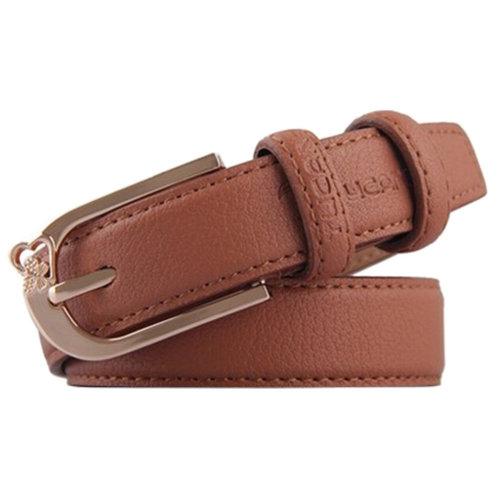 Casual Ladies Fashionable Joker Belts Dress Belts Leather Pin buckle Wheat