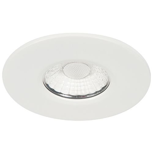 KSR Lighting FRD350 Firebreak 10W COB LED Fire Rated Downlight, Fixed Position, Dimmable, Warm White LED, White Finish