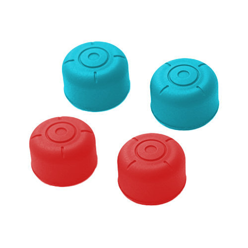 ZedLabz silicone circle grip thumb stick extender caps for Nintendo Switch joy-con controllers - 4 pack red & blue