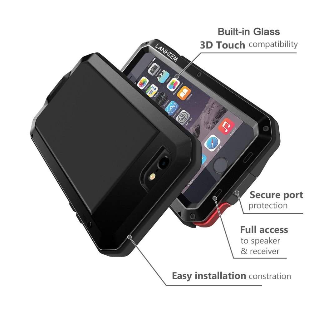 san francisco 5f4c0 9bd35 iPhone 5 / 5S / SE Case, Heavy Duty Shockproof Lanhiem Tough Armour Metal  Case with [Tempered Glass Screen Film], 360 Full Body Protective Case...
