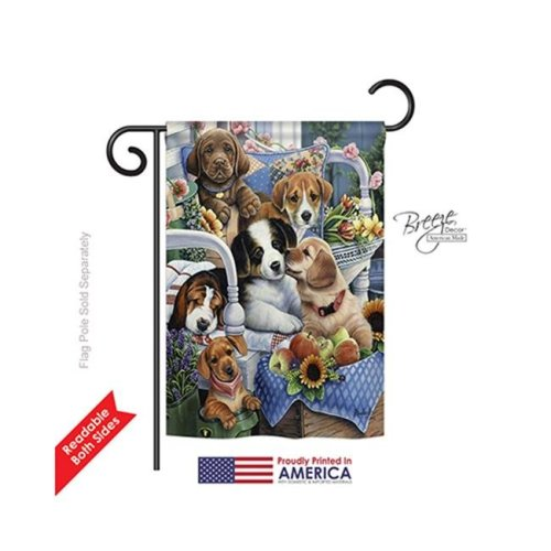 Breeze Decor 60050 Pets Country Pups 2-Sided Impression Garden Flag - 13 x 18.5 in.