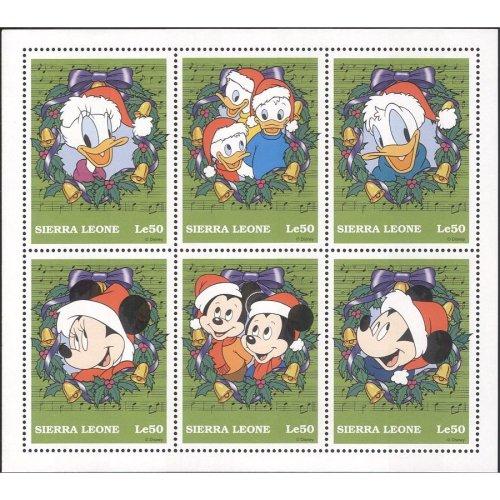 Sierra Leone 1997 Christmas/ Greetings/ Disney/ Mickey/ Pluto/ Donald/ Cartoons 6v sht (b249)