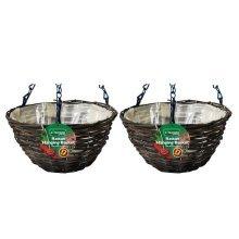 "2 X Kingfisher 12In (30Cm) Dark Rattan Hanging Basket Black 16"" Chain"