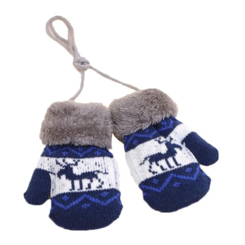 Kids Winter Plush-lined Mittens with String Christmas Deer Thicken Gloves, #01