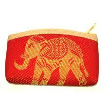 Red cotton coin purse with gold elephant design …