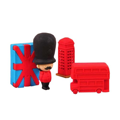 Set of 2 Unique London Erasers Cute 3D Office/School Stationery
