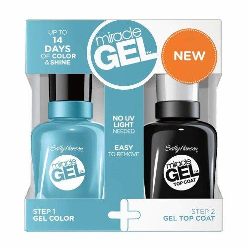 Sally Hansen Nail Polish Miracle Gel Set Aqua Chakra 911 + Top Coat