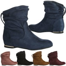 Daphne Womens Hidden Wedge Low Heel Slouch Ankle Boots