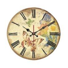 "Butterfly Pattern Wall Clock Retro Battery Clock Decorative Home Clock 14"""